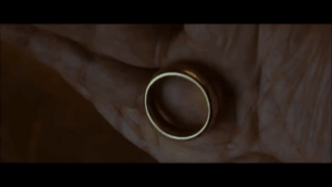 In Lord of the Rings: The Fellowship of the Ring(2001), when Bilbo drops the ring, it doesn't bounce and falls straight to the ground with a loud thumping noise. This is symbolizing both the physical weight of the ring and the emotional weight and toll it takes on its bearer.: In Lord of the Rings: The Fellowship of the Ring(2001), when Bilbo drops the ring, it doesn't bounce and falls straight to the ground with a loud thumping noise. This is symbolizing both the physical weight of the ring and the emotional weight and toll it takes on its bearer.