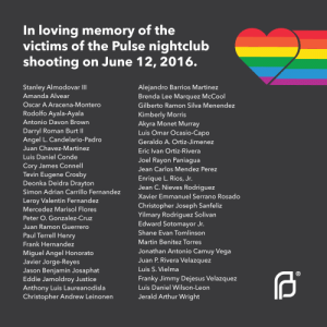 "Arthur, Community, and Martin: In loving memory of the  victims of the Pulse nightclub  shooting on June 12, 2016.  Stanley Almodovar IlI  Amanda Alvear  Oscar A Aracena-Montero  Rodolfo Ayala-Ayala  Antonio Davon Brown  Darryl Roman Burt Il  Angel L. Candelario-Padro  Juan Chavez-Martinez  Luis Daniel Conde  Cory James Connell  Tevin Eugene Crosby  Deonka Deidra Drayton  Simon Adrian Carrillo Fernandez  Leroy Valentin Fernandez  Mercedez Marisol Flores  Peter O. Gonzalez-Cruz  Juan Ramon Guerrero  Paul Terrell Henry  Frank Hernandez  Miquel Angel Honorato  Javier Jorge-Reye:s  Jason Benjamin Josaphat  Eddie Jamoldroy Justice  Anthony Luis Laureanodisla  Christopher Andrew Leinonen  Aleiandro Barrios Martinez  Brenda Lee Marquez McCool  Gilberto Ramon Silva Menendez  Kimberly Morris  Akyra Monet Murray  Luis Omar Ocasio-Capo  Geraldo A. Ortiz-Jimenez  Eric Ivan Ortiz-Rivera  Joel Rayon Paniaqua  Jean Carlos Mendez Perez  Enrique L. Rios, Jr.  Jean C. Nieves Rodriquez  Xavier Emmanuel Serrano Rosado  Christopher Joseph Sanfeliz  Yilmary Rodriguez Solivan  Edward Sotomayor Jr.  Shane Evan Tomlinson  Martin Benitez Torres  Jonathan Antonio Camuy Vega  Juan P. Rivera Velazquez  Luis S. Vielma  Franky Jimmy Dejesus Velazquez  Luis Daniel Wilson-Leon  Jerald Arthur Wright  (R transpocsuggestion:  plannedparenthood:We mourn. We remember.  We stand with the LGBTQ community against hate and violence.  [Image Description: white text on a dark gray square image. A rainbow heart shape with a rainbow tail is in the upper right hand corner. Beginning in the upper left hand corner, the title reads ""In loving memory of the victims of the Pulse nightclub shooting on June 12, 2016."" Directly below the title are the full names of the victims in two columns of smaller text. In the lower right hand corner of the image is the Planned Parenthood logo in white.]"