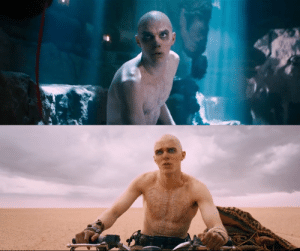 In Mad Max Fury Road (2015), Nux's body paint slowly comes off as he regains more of his humanity throught the film.: In Mad Max Fury Road (2015), Nux's body paint slowly comes off as he regains more of his humanity throught the film.