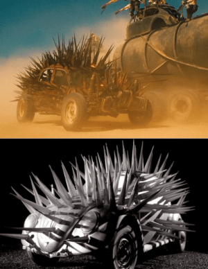 In Mad Max Fury Road the Buzzards Cars are covered in Spikes AS AN HOMAGE TO CULT AUSSIE FILM 'The Cars that Ate Paris'. Directed by Peter Weir. (You know, that guy who made Picnic At Hangin Rock, The Truman Show and Master and Commander?): In Mad Max Fury Road the Buzzards Cars are covered in Spikes AS AN HOMAGE TO CULT AUSSIE FILM 'The Cars that Ate Paris'. Directed by Peter Weir. (You know, that guy who made Picnic At Hangin Rock, The Truman Show and Master and Commander?)