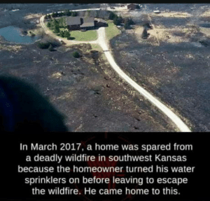 Okey, this is cool!: In March 2017, a home was spared from  a deadly wildfire in southwest Kansas  because the homeowner turned his water  sprinklers on before leaving to escape  the wildfire. He came home to this. Okey, this is cool!