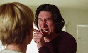 In Marriage Story (2019) Adam Driver immediately begins crying after he tells Scarlett Johansson that he wishes she was dead. This is because he realized that he spoiled Avengers Endgame.: In Marriage Story (2019) Adam Driver immediately begins crying after he tells Scarlett Johansson that he wishes she was dead. This is because he realized that he spoiled Avengers Endgame.