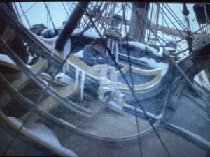 In Master and Commander (2003), you can briefly spot a man pooping off the ship's bow as they sail through frigid southern waters.: In Master and Commander (2003), you can briefly spot a man pooping off the ship's bow as they sail through frigid southern waters.