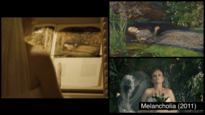 """In Melancholia (2011) Justine (isolated/despondent from masking her depression during her wedding day) tears at the art books on display and replaces them with new books/images, including Millais' """"Ophelia,"""" a painting mirrored by an opening shot of Justine languidly floating in her wedding dress: In Melancholia (2011) Justine (isolated/despondent from masking her depression during her wedding day) tears at the art books on display and replaces them with new books/images, including Millais' """"Ophelia,"""" a painting mirrored by an opening shot of Justine languidly floating in her wedding dress"""