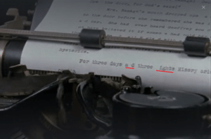 """In Misery (1990), Annie Wilkes buys Paul Sheldon a typewriter and says she got a good deal on a typewriter because the """"N"""" key doesn't work. This can later be seen in a writing montage later in the movie.: In Misery (1990), Annie Wilkes buys Paul Sheldon a typewriter and says she got a good deal on a typewriter because the """"N"""" key doesn't work. This can later be seen in a writing montage later in the movie."""
