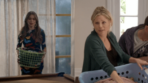 """In Modern Family S11E07, Claire asks Gloria, """"Gloria, you do laundry? Or are you hiding a pregnancy?"""". I think this is a reference to the pilot episode where Julie Bowen was cast to play Claire but she was pregnant with twins so they had to cover her belly with a laundry basket and other items: In Modern Family S11E07, Claire asks Gloria, """"Gloria, you do laundry? Or are you hiding a pregnancy?"""". I think this is a reference to the pilot episode where Julie Bowen was cast to play Claire but she was pregnant with twins so they had to cover her belly with a laundry basket and other items"""