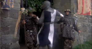 In Monty Python and the Holy Grail, the guards of Swamp Castle are wearing camouflage cargo pants: In Monty Python and the Holy Grail, the guards of Swamp Castle are wearing camouflage cargo pants