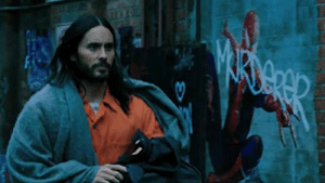 In Morbius (2020) graffiti is seen which calls Spider-Man a murderer. This is a reference to the film's star, Jared Leto, who murdered his reputation by writing 'Damaged' on his forehead.: In Morbius (2020) graffiti is seen which calls Spider-Man a murderer. This is a reference to the film's star, Jared Leto, who murdered his reputation by writing 'Damaged' on his forehead.