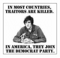 Democrat Memes: IN MOST COUNTRIES,  TRAITORS ARE KILLED.  IN AMERICA, THEY JOIN  THE DEMOCRAT PARTY.