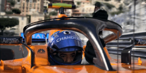 In Murder Mystery (2019), a Formula 1 driver wins a race using Fernando Alonso's McLaren. This scene exists to show the audience that this story is actually fictional.: In Murder Mystery (2019), a Formula 1 driver wins a race using Fernando Alonso's McLaren. This scene exists to show the audience that this story is actually fictional.