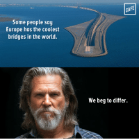 "Checkmate, Denmark.: .............""""""""""""in nllllllllllil  CAFE  Some people say  Europe has the coolest  bridges in the world.  We beg to differ. Checkmate, Denmark."