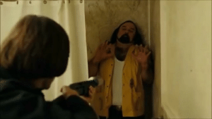 In No Country For Old Men (2007), the Coen Brothers originally wanted to give Peter Jackson a cameo in the motel shootout scene. Jackson declined so the role was given to an unknown lookalike.: In No Country For Old Men (2007), the Coen Brothers originally wanted to give Peter Jackson a cameo in the motel shootout scene. Jackson declined so the role was given to an unknown lookalike.