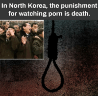 In North Korea, the punishment  for watching porn is death.