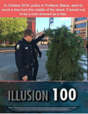 omg-humor:Sneak 1000: In October 2016, police in Portland, Maine, went to  move a tree from the middle of the street. It turned out  to be a man dressed as a tree  ILLUSION 100 omg-humor:Sneak 1000