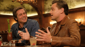 In once upon a time in hollywood (2019), Leonardo Dicaprio (right), showed up randomly on set, and started following Brad Pitt around. Tarantino was so taken back by this he kept him in the final cut.: In once upon a time in hollywood (2019), Leonardo Dicaprio (right), showed up randomly on set, and started following Brad Pitt around. Tarantino was so taken back by this he kept him in the final cut.
