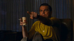 In Once Upon A Time in Hollywood (2019) we can see Leonardo DiCaprio pointing at himself in the movie, pointing out that he is actually starring in the movie as Rick Dalton. I knew when I saw the credits rolling.: In Once Upon A Time in Hollywood (2019) we can see Leonardo DiCaprio pointing at himself in the movie, pointing out that he is actually starring in the movie as Rick Dalton. I knew when I saw the credits rolling.
