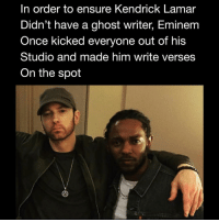 Eminem, Friends, and Kendrick Lamar: In order to ensure Kendrick Lamar  Didn't have a ghost writer, Eminem  Once kicked everyone out of his  Studio and made him write verses  On the spot I wonder how many other artists eminem did this to 🤔 Does em and kendricklamar need to make more music together ❓ ➡️DM Your friends ➡️Follow @bars