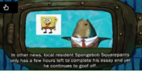 SpongeBob prepared me for the future..: In other news, local resident Spongebob Squarepants  only has a few hours left to complete his essay and yet  he continues to goof off. SpongeBob prepared me for the future..