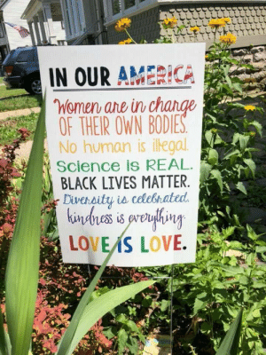 America, Black Lives Matter, and Love: IN OUR AMERICA  Women ane in ch  OF THEIR OWN BODIE  No human is ilegal  Science Is REAL  BLACK LIVES MATTER  Diversit창 iecelestated.  LOVEAS LOVE.