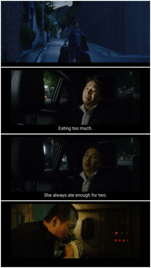 In Parasite(2019) after the old housekeeper is fired Mr. Park praises her but mentions she had only one flaw- she ate enough for two people. Later it is revealed that her husband hiding in the bunker has been sneaking up to get food in the night from the pantry leading to Mr. Kim's false assumption.: In Parasite(2019) after the old housekeeper is fired Mr. Park praises her but mentions she had only one flaw- she ate enough for two people. Later it is revealed that her husband hiding in the bunker has been sneaking up to get food in the night from the pantry leading to Mr. Kim's false assumption.