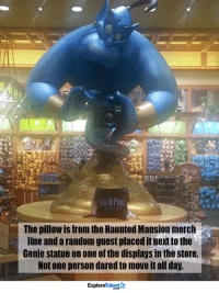 Memes, Haunting, and 🤖: In Peac  The pillow is from the Haunted Mansion merch  line and a random guest placed itnextto the  Genie statue on one of the displays in the store.  Not one person dared move it all day.  Talent  Explore This breaks my heart. We miss you, Robin Williams😓💔