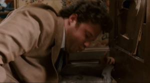 In Pineapple Express (2008), Dale faceplants into a full litter box during the fight at Red's house. Red never cleaned it out of grief.: In Pineapple Express (2008), Dale faceplants into a full litter box during the fight at Red's house. Red never cleaned it out of grief.