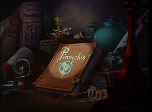 In Pinocchio (1940) When Jiminy Cricket opens a book to tell the story of Pinocchio at the beginning of the film, two other books which Disney would later go on to animate are on the shelf. Alice in Wonderland (1951) and Peter Pan. (1953): In Pinocchio (1940) When Jiminy Cricket opens a book to tell the story of Pinocchio at the beginning of the film, two other books which Disney would later go on to animate are on the shelf. Alice in Wonderland (1951) and Peter Pan. (1953)