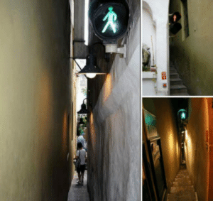 Prague, The Middle, and Light: In Prague there is a street so narrow you need a light to not get stuck in the middle