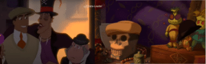 In Princess and the the frog ( 2009 ), the hat of Naveen and Lawrence is placed on a skull and a doll/puppet when they met inside voodoo doctor's house . Which is what Dr Facilier planned for them, one being dead and another under his control .: In Princess and the the frog ( 2009 ), the hat of Naveen and Lawrence is placed on a skull and a doll/puppet when they met inside voodoo doctor's house . Which is what Dr Facilier planned for them, one being dead and another under his control .