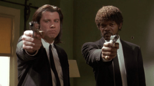 In Pulp Fiction (1994), not one person thought to train the cast on how to properly handle weapons, which is shown here in this clip when John and Samuel both point their guns directly at the camera crew.: In Pulp Fiction (1994), not one person thought to train the cast on how to properly handle weapons, which is shown here in this clip when John and Samuel both point their guns directly at the camera crew.