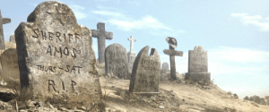 """In Rango (2011), the graveyard is full of amusing epitaphs. From left to right: """"He's dead Jim"""", Sheriff Amos: """"Thurs-Sat RIP"""", Sheriff Jurgen:"""" Doors"""", Sheriff Tucker: """"Hold my beer and watch this"""", and Sheriff Kippy: """"Rest in pieces"""",: In Rango (2011), the graveyard is full of amusing epitaphs. From left to right: """"He's dead Jim"""", Sheriff Amos: """"Thurs-Sat RIP"""", Sheriff Jurgen:"""" Doors"""", Sheriff Tucker: """"Hold my beer and watch this"""", and Sheriff Kippy: """"Rest in pieces"""","""