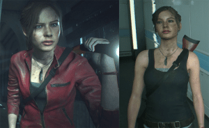 In Resident Evil 2 Remake After Claire gives her jacket to Sherry, her face and neck are very dirty, but her arms are somewhat clean because she's been wearing the jacket for the majority of the game.: In Resident Evil 2 Remake After Claire gives her jacket to Sherry, her face and neck are very dirty, but her arms are somewhat clean because she's been wearing the jacket for the majority of the game.