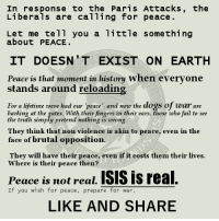 A Dream, America, and Dogs: In response to the Paris Attacks, the  Liberals are calling for peace  Let me tell you a little something  about PEACE  IT DOESN T EXIST ON EARTH  Peace is that moment in history when everyone  stands around reloading  For a lifetime weve had our 'peace' and now the dogs of war are  barking at the gates. With their fingers in their ears, those who fail to see  the truth simply pretend nothing is wrong  They think that non violence is akin to peace, even in the  face of brutal opposition.  They will have their peace, even if it costs them their lives.  Where is their peace then?  Peace is not real. ISIS is real  If you wish for peace, prepare for war  LIKE AND SHARE Peace is that moment in history when everyone stands around reloading. For a lifetime we've had our peace, and now the dogs of war are barking at the gates. With their fingers in their ears, those who fail to see their error simply pretend nothing is wrong. That non-violence, lack of defense and such things are akin to peace in the face of brutal opposition. They are not. Peace is not real. It is simply an idea. A dream. False. It occurs in certain places under limited circumstance.   The chickens have come home to roost and all these peace nazis are determined to do is chase their fading peace to the end of the earth. There is no peace in Europe, nor Asia nor the middle east. The only peace we had in America lasted between the fall of the USSR and the rise of Islamic terror. Not even ten years. Si vis pacem parabellum. If you wish for peace, prepare for war. -- Cold Dead Hands 2nd Amendment Gear: CDH2A.COM/SHOP