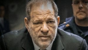 In Return of the Jedi, Jabba the Hutt is killed after licking Princess Leia against her will. I couldn't find a picture of that scene, so here's a picture of Harvey Weinstein after he was sentenced to 23 years in prison.: In Return of the Jedi, Jabba the Hutt is killed after licking Princess Leia against her will. I couldn't find a picture of that scene, so here's a picture of Harvey Weinstein after he was sentenced to 23 years in prison.