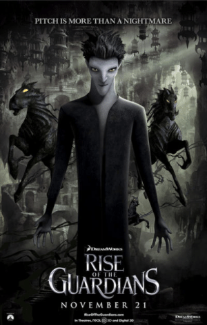 In Rise of the Guardians (2012) the dark horses are called Night Mares, the bringers of bad dreams aka nightmares: In Rise of the Guardians (2012) the dark horses are called Night Mares, the bringers of bad dreams aka nightmares