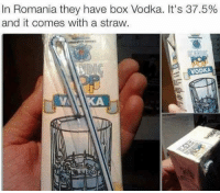 Need this in my lunch box: In Romania they have box Vodka. It's 37.5%  and it comes with a straw.  VODKA Need this in my lunch box