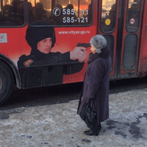 In Russia bus takes you: In Russia bus takes you