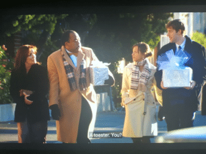 In s3e15 at Pyhllis' wedding Stanley tells Karen and Jim that his present is a toaster, in s3e1 Stanley explained to the camera that he bought a toaster for Pam's wedding that got called off and that his house had two toasters now. He finally got to give away the toaster.: In s3e15 at Pyhllis' wedding Stanley tells Karen and Jim that his present is a toaster, in s3e1 Stanley explained to the camera that he bought a toaster for Pam's wedding that got called off and that his house had two toasters now. He finally got to give away the toaster.