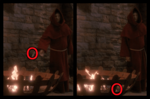In S4:E20 (Qpid) of Star Trek: TNG, when Data throws an object into a flaming brazier to create an explosion, you can see the object immediately roll/bounce out one of the openings in the side and onto the ground: In S4:E20 (Qpid) of Star Trek: TNG, when Data throws an object into a flaming brazier to create an explosion, you can see the object immediately roll/bounce out one of the openings in the side and onto the ground