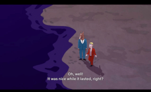 In s6, e16 of Bojack Horseman (2020) just as Todd says it was nice while it lasted, the waves sweep across the beach to remove the traces of their footprints: In s6, e16 of Bojack Horseman (2020) just as Todd says it was nice while it lasted, the waves sweep across the beach to remove the traces of their footprints