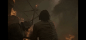 In season 7 episode 4, when daenerys attacks the Lannister army Bronn is seen pulling a sword out of a Lannister soldier. Dothraki use arakh, the half moon blades.: In season 7 episode 4, when daenerys attacks the Lannister army Bronn is seen pulling a sword out of a Lannister soldier. Dothraki use arakh, the half moon blades.
