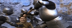 In Shrek 2 (2004) knights grind pepper into shreds eyes, because pepper spray hasn't existed yet.: In Shrek 2 (2004) knights grind pepper into shreds eyes, because pepper spray hasn't existed yet.