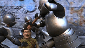 In Shrek 2 (2004) the guards grind pepper directly on Shrek's eyes since pepper spray had yet to exist: In Shrek 2 (2004) the guards grind pepper directly on Shrek's eyes since pepper spray had yet to exist