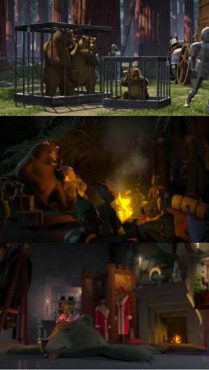 In Shrek you can see Mama Bear from Goldilocks in one of the cages, but not in the swamp. It's because Lord Farquaad had her killed and made into a rug for his bedroom.: In Shrek you can see Mama Bear from Goldilocks in one of the cages, but not in the swamp. It's because Lord Farquaad had her killed and made into a rug for his bedroom.