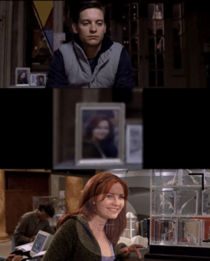 In Spider-Man 2 (2004),Peter Parker goes to his apartment and we see a photo of Mary Jane (Peter's love interest). This photo was most likely taken during Spider-Man 1 (2002) at the lab where peter got his powers. You can tell it was the same time by the cloths and background.: In Spider-Man 2 (2004),Peter Parker goes to his apartment and we see a photo of Mary Jane (Peter's love interest). This photo was most likely taken during Spider-Man 1 (2002) at the lab where peter got his powers. You can tell it was the same time by the cloths and background.