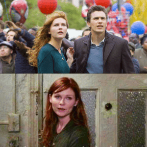 In Spider-Man 3 (2007), Mary Jane is seen wearing green frequently throughout the beginning of the film, symbolizing her straying away from Peter and drawing towards Harry (The Green Goblin).: In Spider-Man 3 (2007), Mary Jane is seen wearing green frequently throughout the beginning of the film, symbolizing her straying away from Peter and drawing towards Harry (The Green Goblin).
