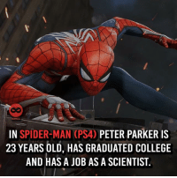 College, Love, and Memes: IN SPIDER-MAN (PS4) PETER PARKER IS  23 YEARS OLD, HAS GRADUATED COLLEGE  AND HAS A JOB AS A SCIENTIST The gameplay looks amazing 🙌 (follow @8comics if you love everything about comics)