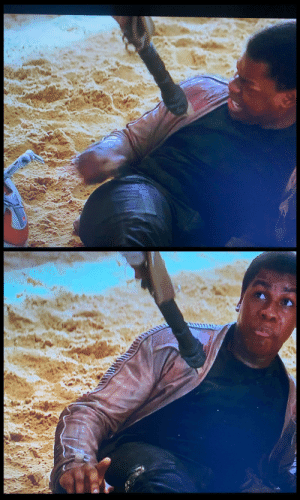 In Star Wars: The Force Awakens (2015) a burn mark appears on Finn's pants after he is electrocuted by BB-8.: In Star Wars: The Force Awakens (2015) a burn mark appears on Finn's pants after he is electrocuted by BB-8.