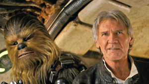 Chewbacca, Han Solo, and Star Wars: In Star Wars: The Force Awakens (2015) Chewbacca has a human friend named Han Solo. This is a subtle nod to Star Wars: A New Hope (1977), where Chewbacca had a human friend of the same name.