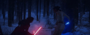 Kylo Ren, Lightsaber, and Star Wars: In Star Wars: The Force Awakens (2015), despite having trained several years, Kylo Ren is unable to beat someone who has never used a lightsaber before in a duel. This is a reference to the fact that he is a dumbass
